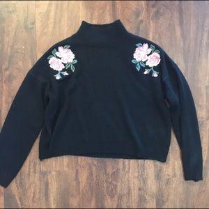 Embroidered flower sweatshirt